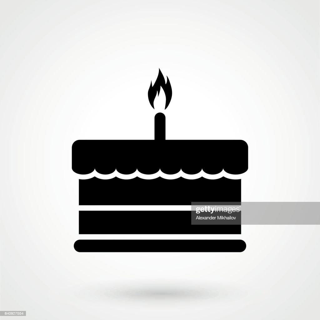Geburtstag Kuchen Symbol Vektorillustration Herzlichen Gluckwunsch