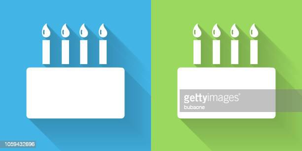 birthday cake icon with long shadow - birthday cake stock illustrations, clip art, cartoons, & icons