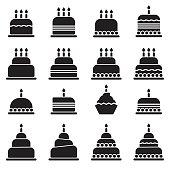 Birthday Cake Icons [Black Edition]