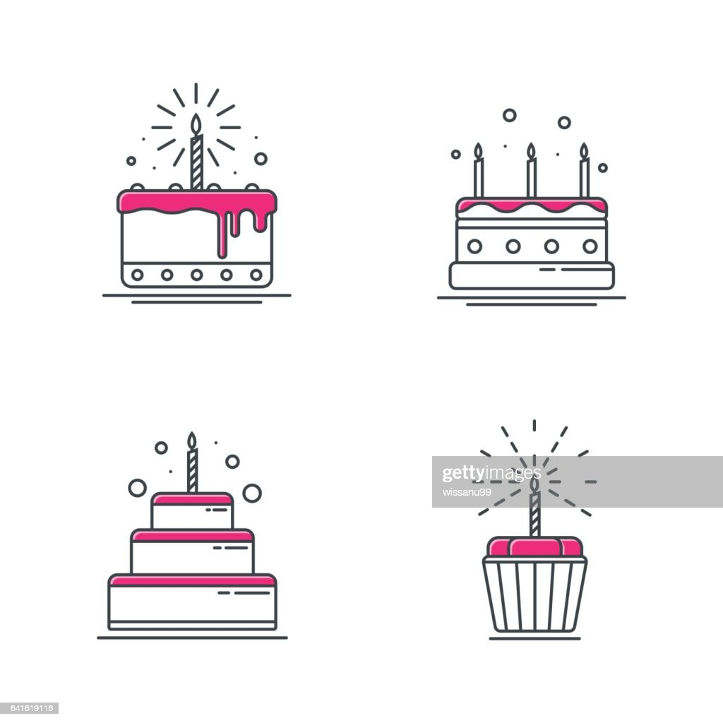 Birthday Cake Icons Line Design Vector Illustration Vector Art