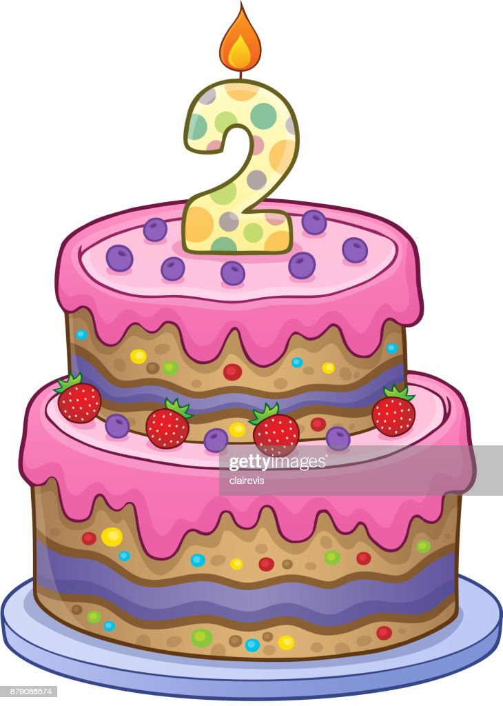 Birthday Cake Image For 2 Years Old Vector Art Getty Images