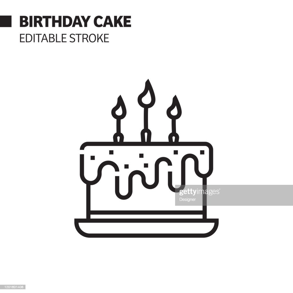 Incredible Birthday Cake Line Icon Outline Vector Symbol Illustration Pixel Birthday Cards Printable Trancafe Filternl