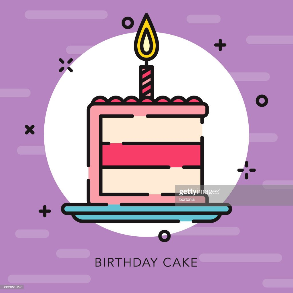 Birthday Cake Open Outline Celebrations Parties Icon Vector Art