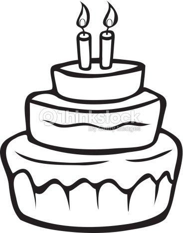 Birthday Cake Outline Vector Art