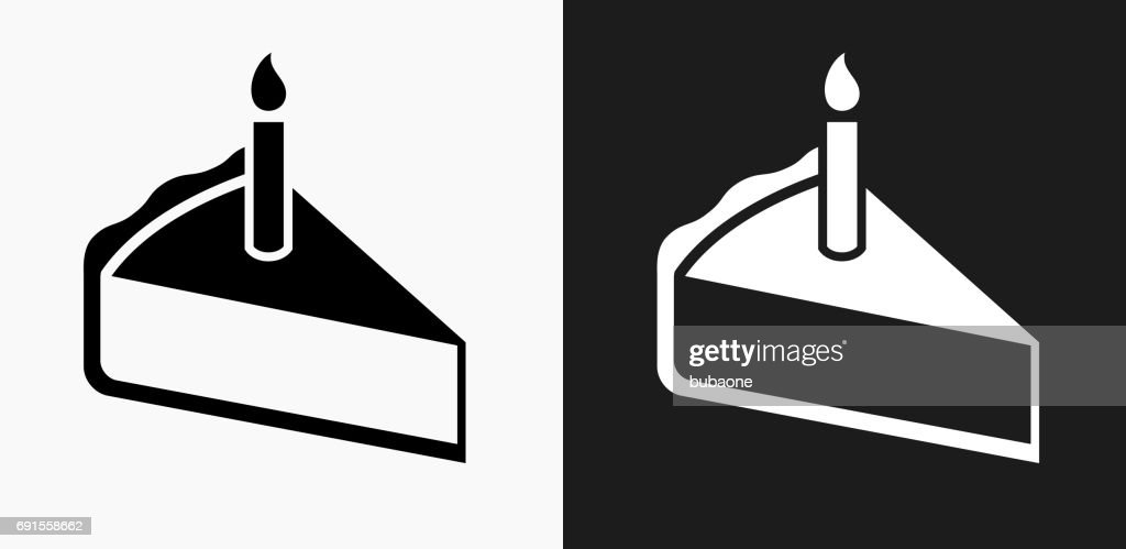 Birthday Cake Slice Icon On Black And White Vector Backgrounds