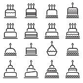 Birthday Cake Thin Line Icons
