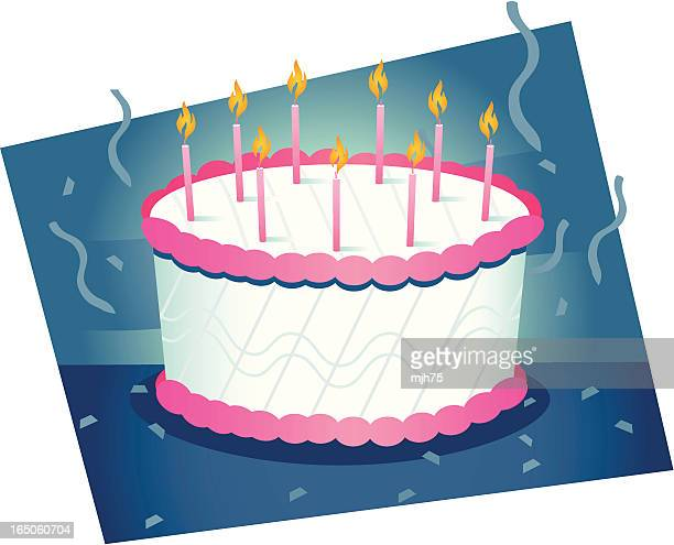 birthday cake - dessert topping stock illustrations, clip art, cartoons, & icons