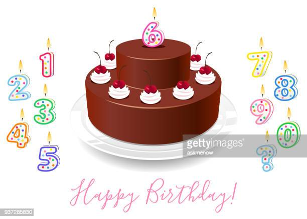 birthday cake - birthday candle stock illustrations