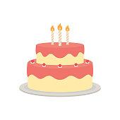 Birthday cake vector isolated illustration