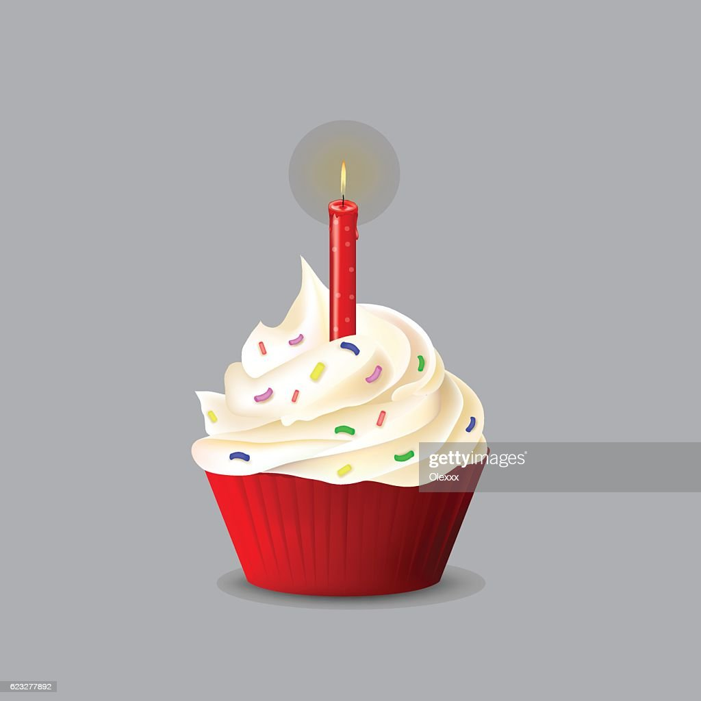 Birthday cake with a candle for your design