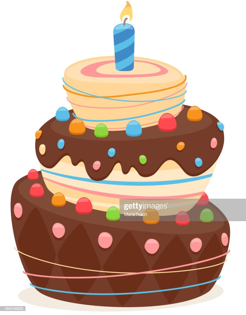 Birthday Cake With Blue Candle And Chocolate Frosting Vector Art