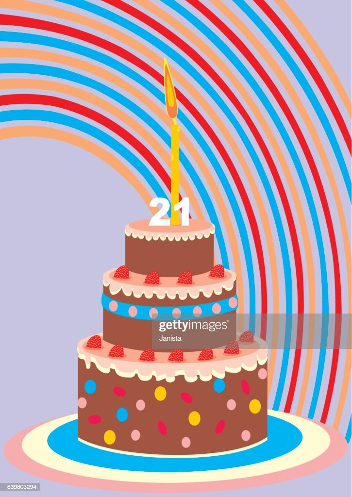 Birthday Cake With Candle 21 Year Vector Art Getty Images