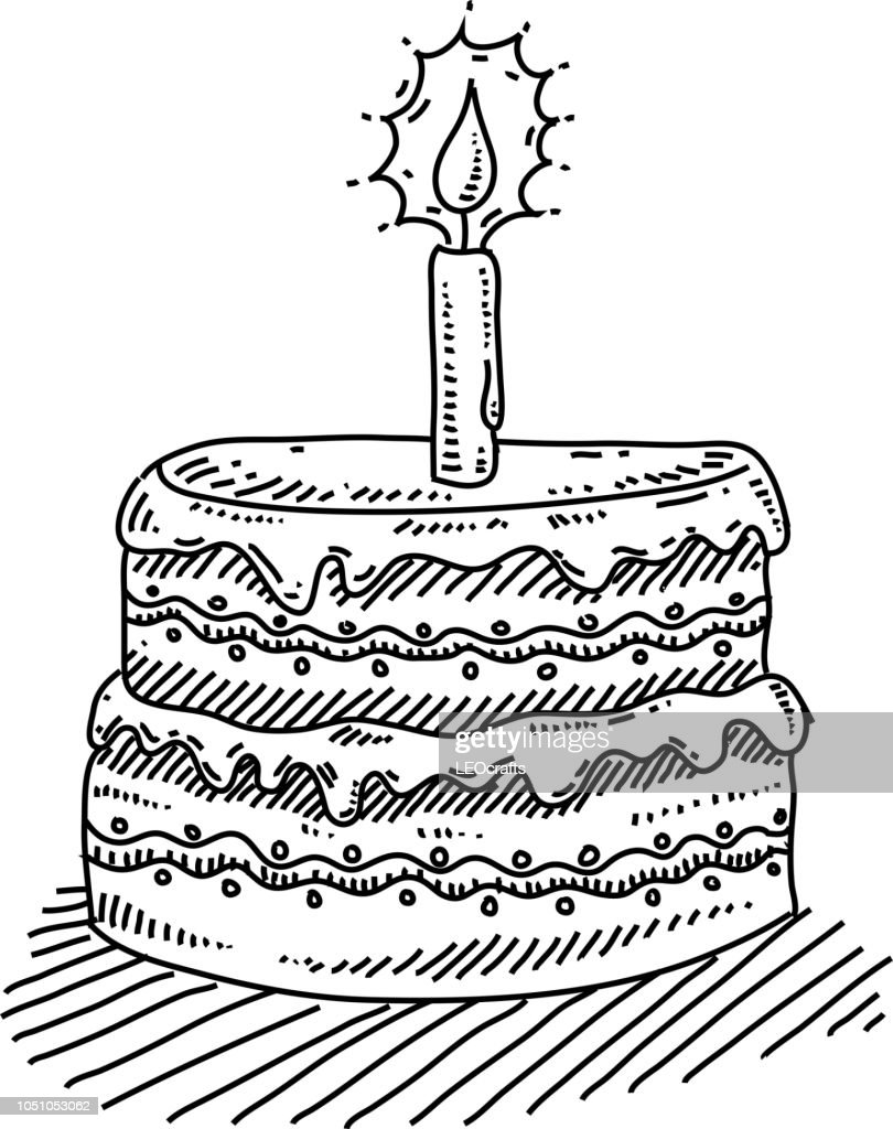 Super Birthday Cake With Candle Drawing High Res Vector Graphic Getty Funny Birthday Cards Online Elaedamsfinfo