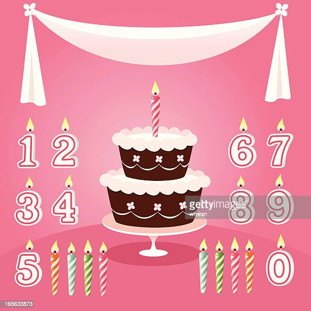 birthday cake with candle options on pink background - candle stock illustrations, clip art, cartoons, & icons
