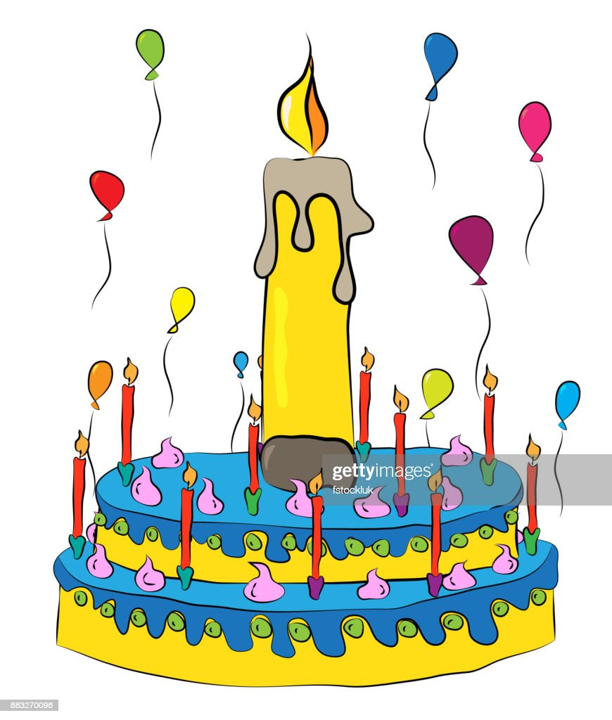 Birthday Cake With Candles And Balloons Vector Art
