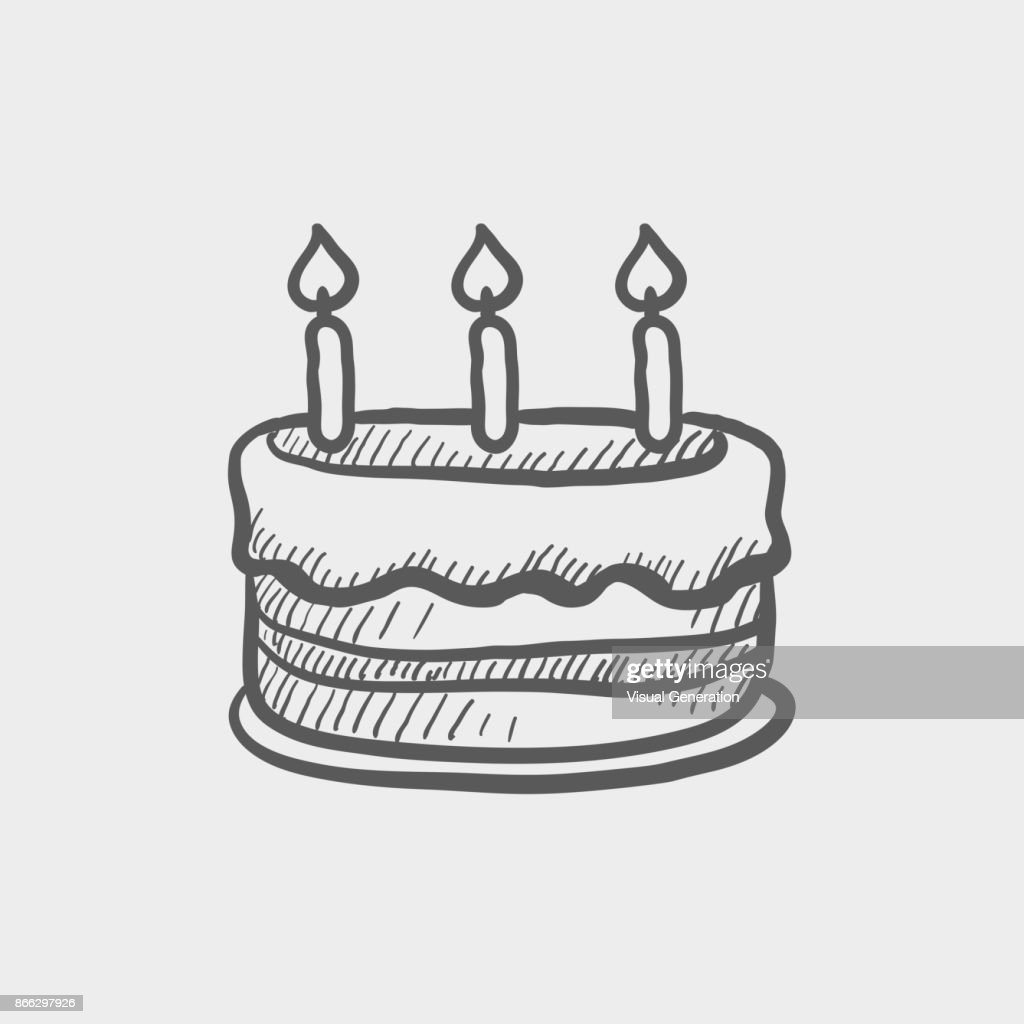 Birthday Cake With Candles Sketch Hand Drawn Doodle Icon Vector Art