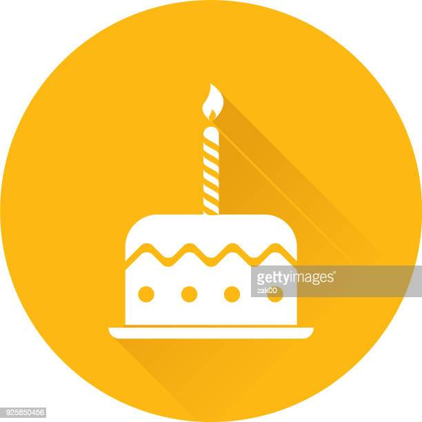 birthday cake with candles with long shadow - candle stock illustrations, clip art, cartoons, & icons