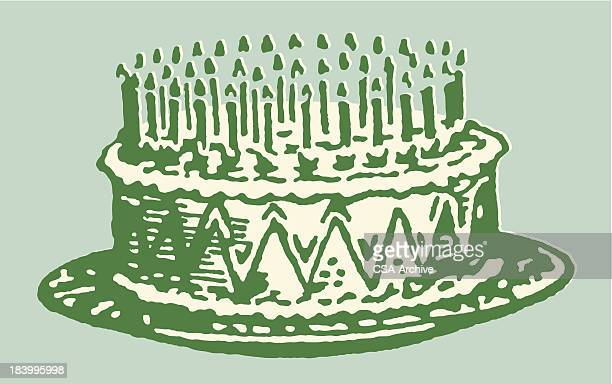 stockillustraties, clipart, cartoons en iconen met birthday cake with lit candles - happy birthday vintage