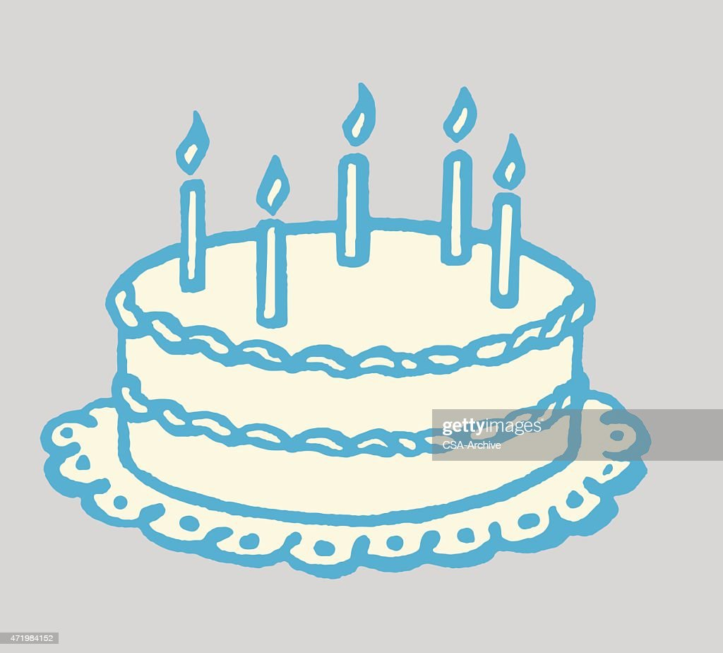 birthday cake with lit candles vector art getty images