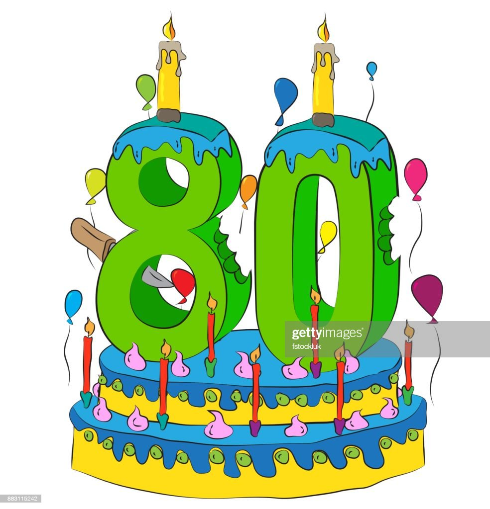 80 Birthday Cake With Number Eighty Candle Celebrating Eightieth Year Of Life Colorful Balloons And Chocolate Coating