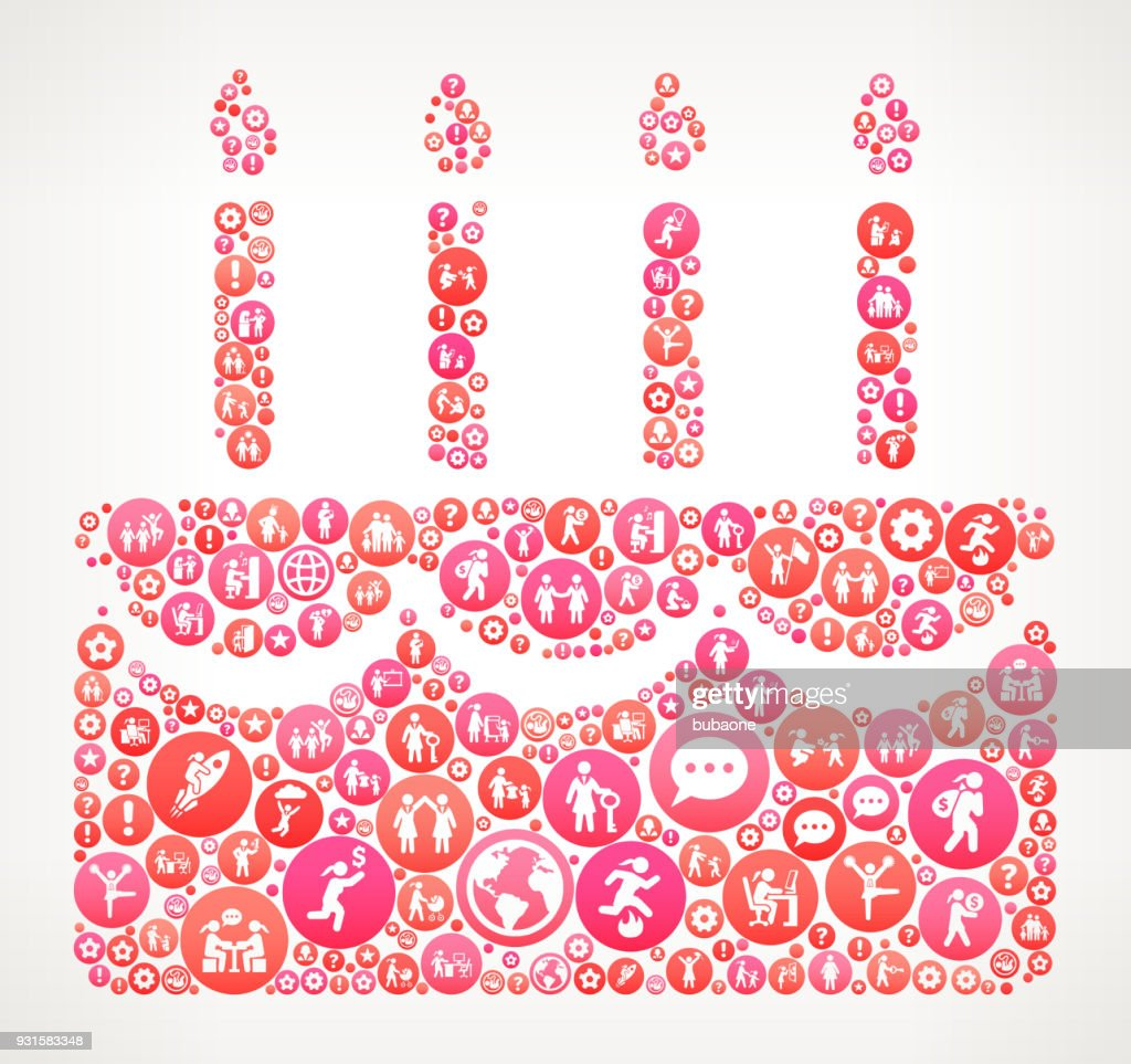 Birthday Cake Women Female Empowerment Icons Vector Background