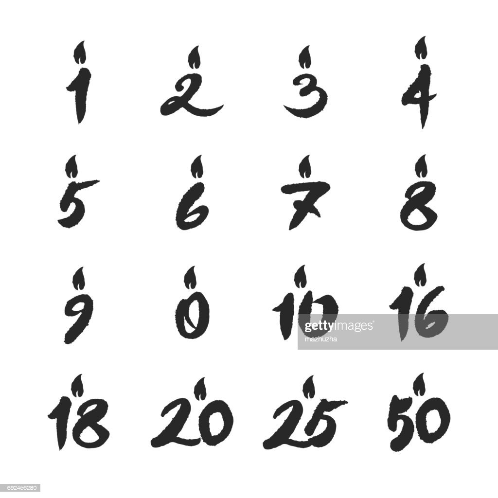 Birthday Candles Numbers Set Stock Vector