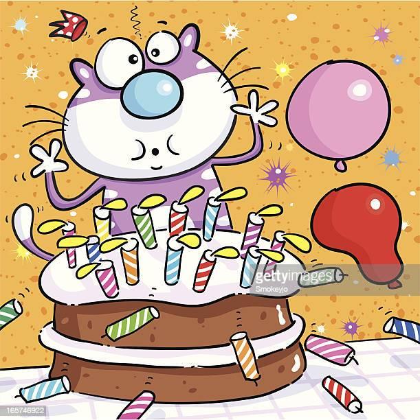 illustrations, cliparts, dessins animés et icônes de bougie d'anniversaire - chat humour