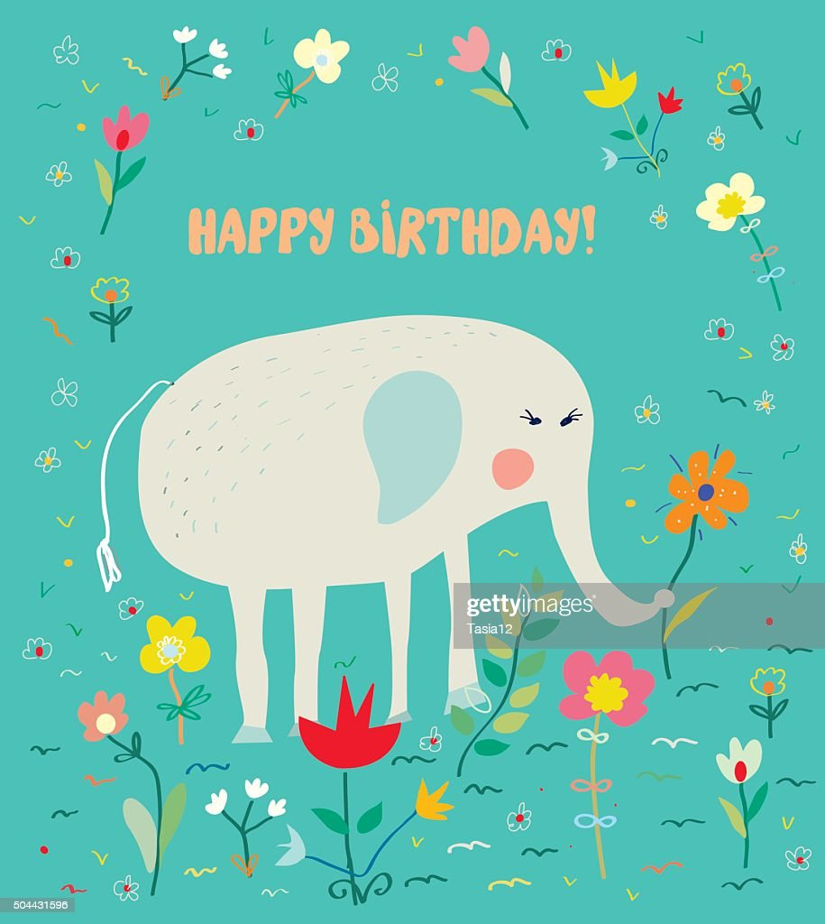 Birthday card for kids with elephant and flowers