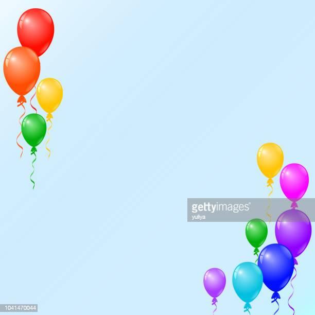 ilustrações, clipart, desenhos animados e ícones de aniversário cartão, cartão de convite para festa, balões coloridos - balão símbolo ortográfico