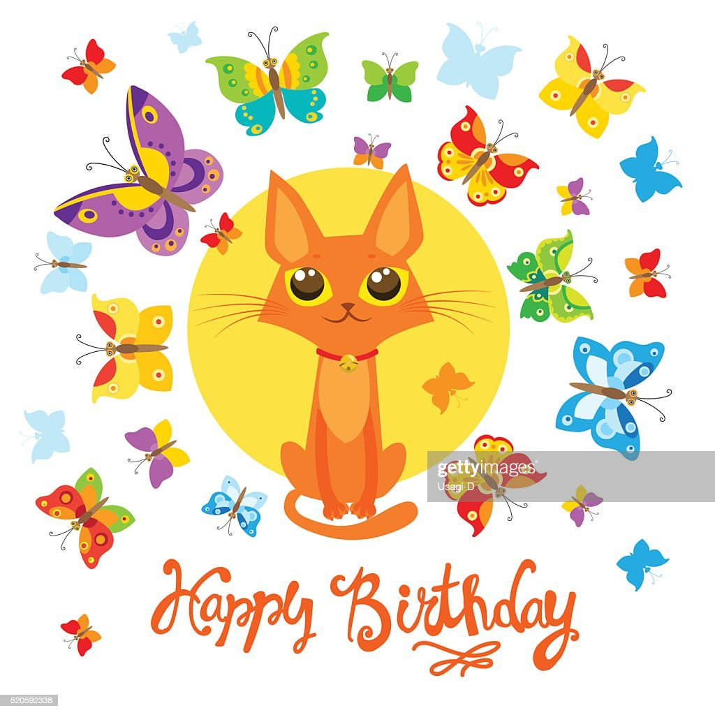Birthday Card With Cat And Butterfly. Greeting Card.