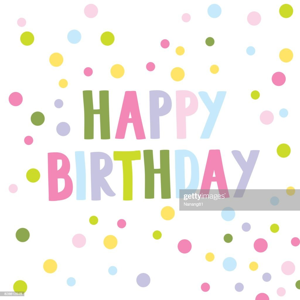 Birthday card with colorful polka dots design