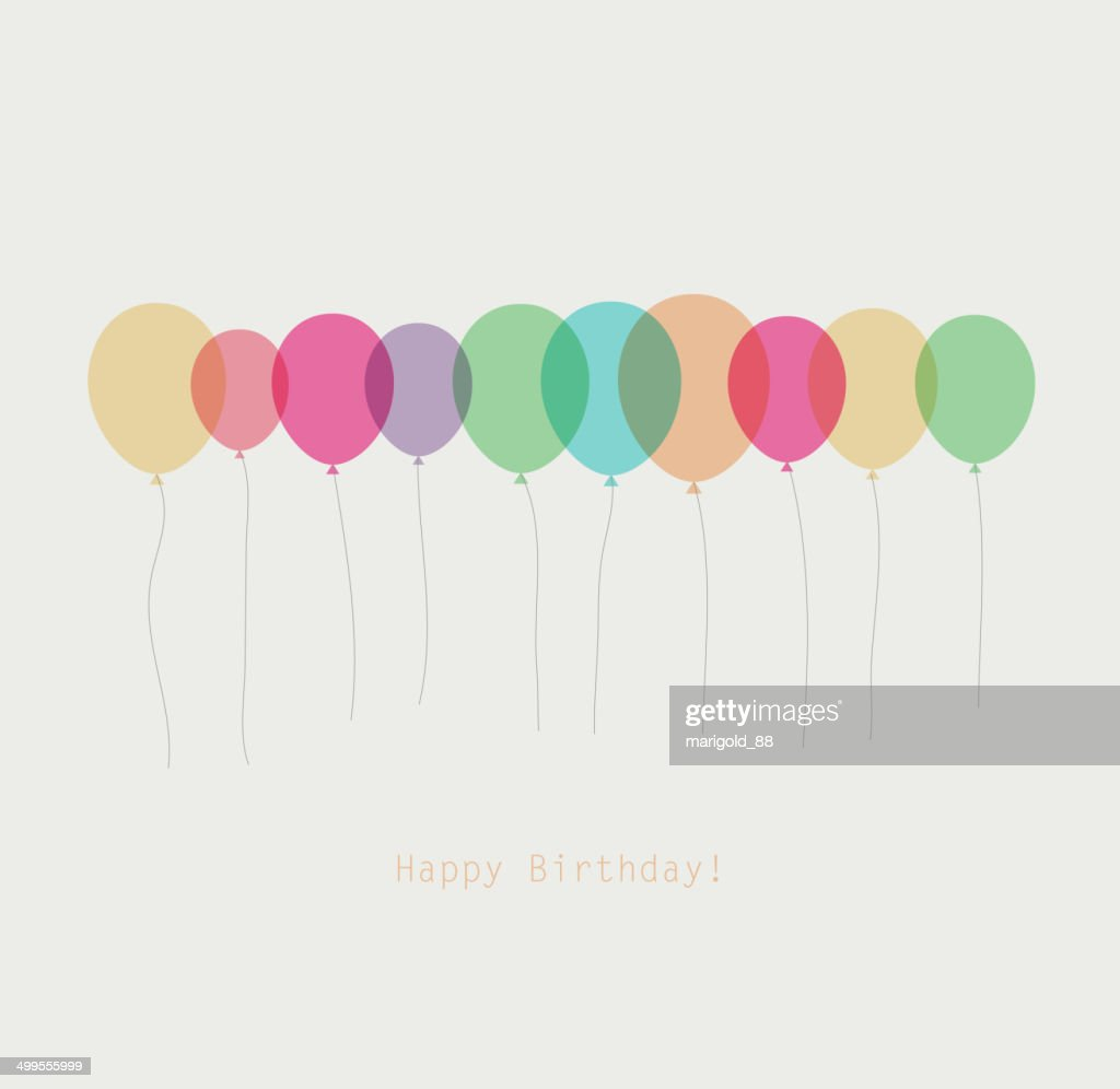 Birthday card with colorful transparent  balloons