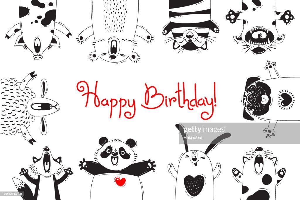 Birthday Card With Funny Animals Pig Bear Fox Sheep Cat Pug Panda Rabbit Vector Art