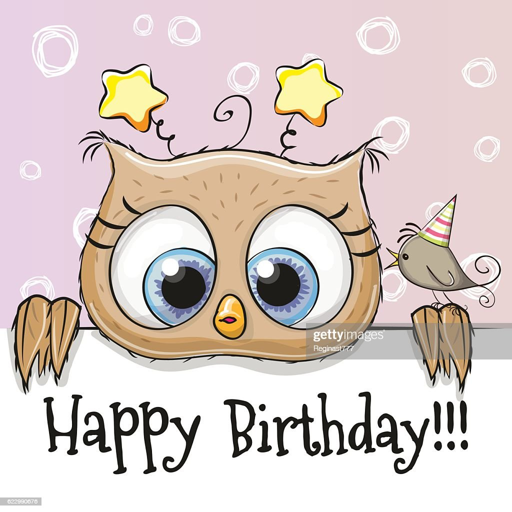Birthday card with Owl