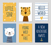 Birthday cards with cartoon tiger and bear for baby boy and kids.