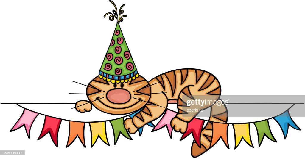 Verjaardag Kat Banner Vectorkunst Getty Images