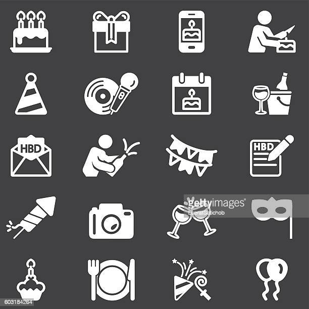birthday celebration and party white silhouette icons | eps10 - champagne region stock illustrations, clip art, cartoons, & icons
