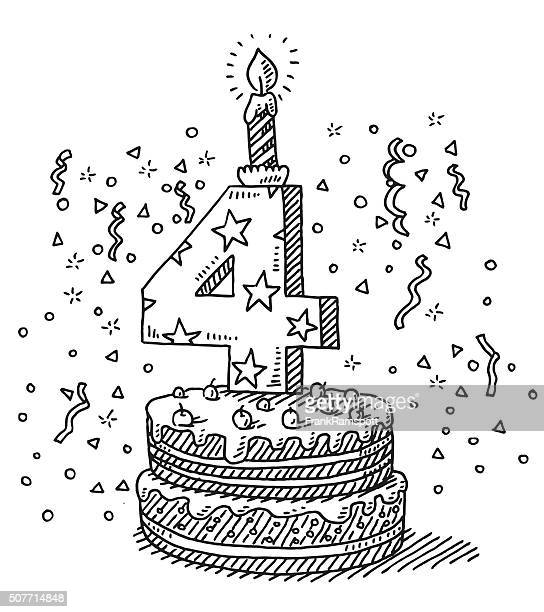 birthday celebration cake number 4 drawing - candle stock illustrations, clip art, cartoons, & icons