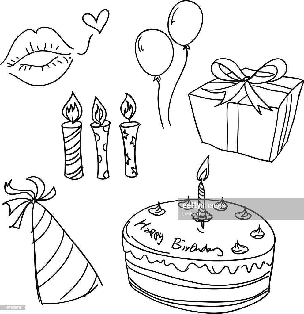 Birthday celebration sketch in black and white : stock illustration