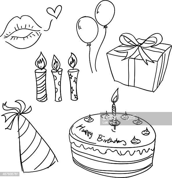 birthday celebration sketch in black and white - candle stock illustrations, clip art, cartoons, & icons