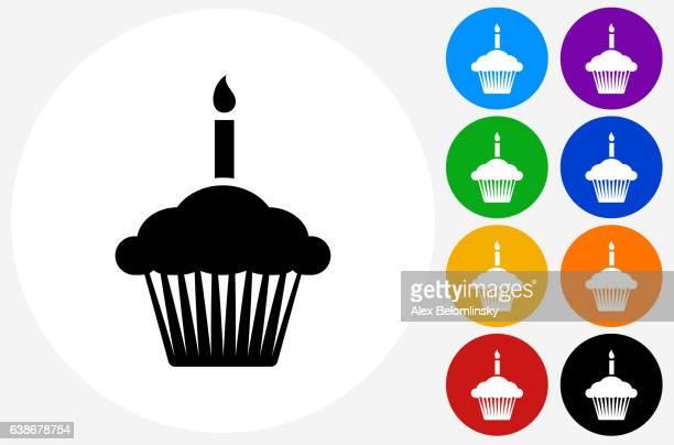 illustrations, cliparts, dessins animés et icônes de birthday cupcake icon on flat color circle buttons - gateau anniversaire