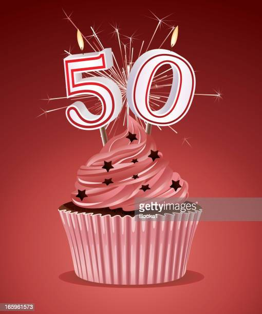 誕生日カップケーキ - 数字の50点のイラスト素材/クリップアート素材/マンガ素材/アイコン素材