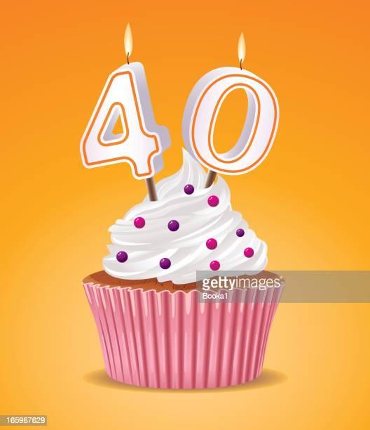 誕生日カップケーキ - 数字の40点のイラスト素材/クリップアート素材/マンガ素材/アイコン素材