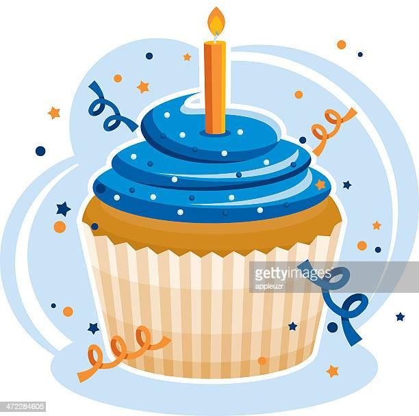 ilustrações, clipart, desenhos animados e ícones de cupcake de aniversário - bolinho