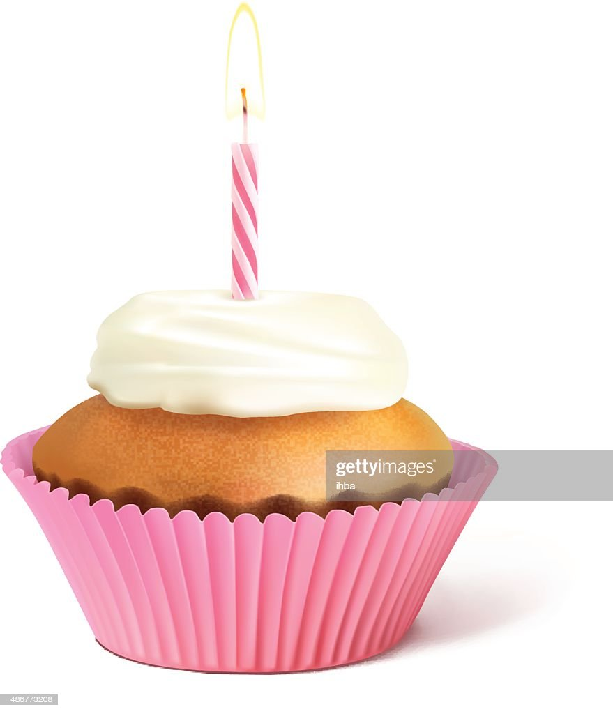 Birthday cupcake witch candle isolated on white background. Vector illustration