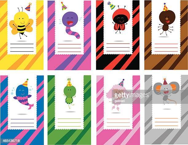 ilustraciones, imágenes clip art, dibujos animados e iconos de stock de animales diferentes tarjetas de cumpleaños con - grupo grande de animales