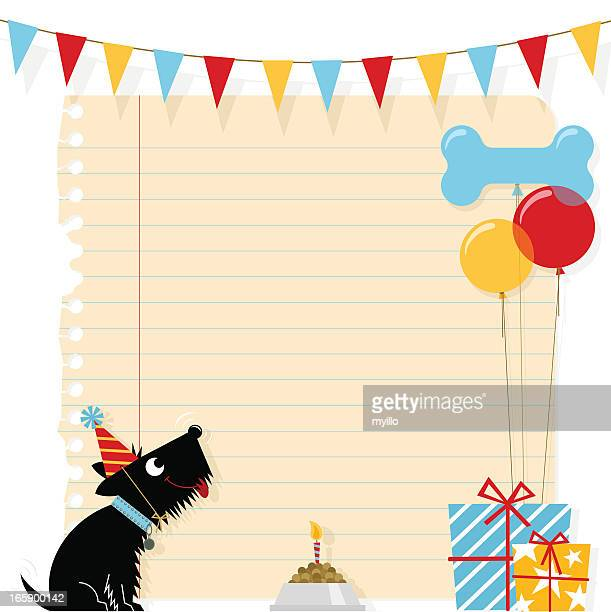 birthday dog pet cute terrier greeting balloon party humor - dog bone stock illustrations