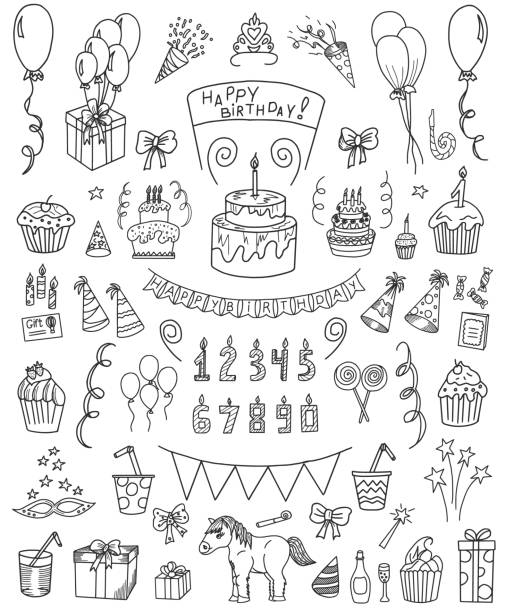 birthday doodle set - doodle stock illustrations