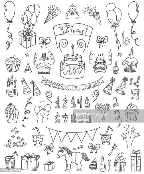 birthday doodle set - sketch stock illustrations