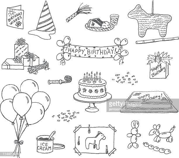 birthday doodles - pinata stock illustrations